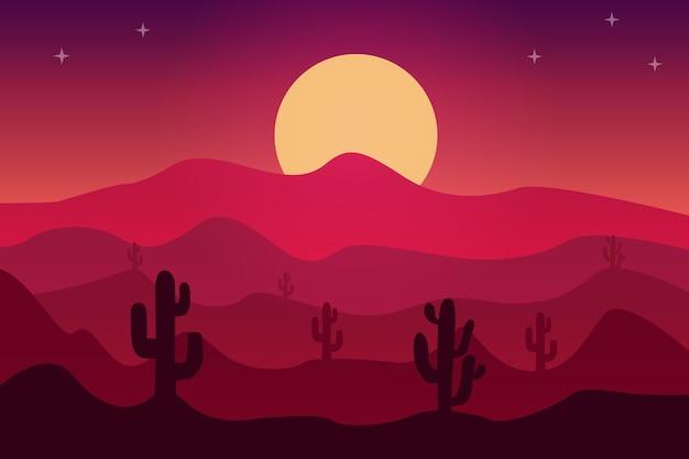 Paesaggio nella sabbia del deserto nell'atmosfera del sole sprofonda