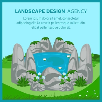 Modello della bandiera di vettore piatto design di paesaggio. Vettore Premium