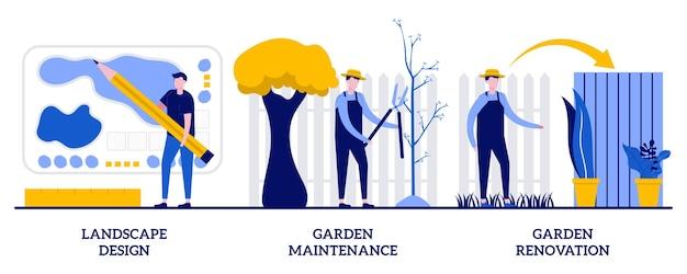 Progettazione del paesaggio, manutenzione del giardino e concetto di ristrutturazione con persone minuscole. insieme dell'illustrazione di vettore di servizi di giardinaggio. fronda e cortile, piante da modellatura, taglio di siepi, metafora di falciatura del prato.