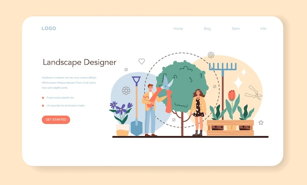 Banner web o pagina di destinazione del progettista del paesaggio. idea di giardinaggio