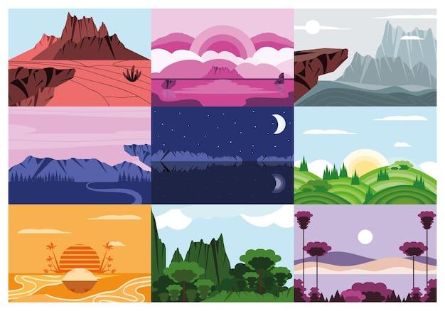 Set di stagioni di natura diversa del paesaggio