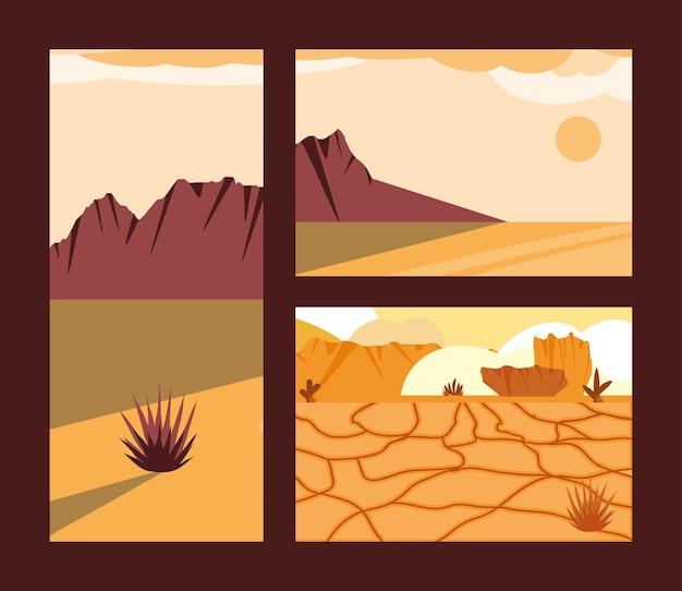 Set di terreno deserto secco paesaggio