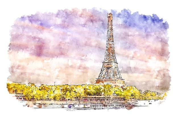 Illustrazione disegnata a mano di schizzo dell'acquerello di parigi della torre eiffel del paesaggio