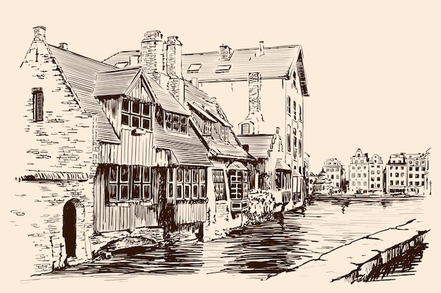 Paesaggio di una città europea con vecchie case in mattoni e un canale di fiume. schizzo fatto a mano su sfondo beige. Vettore Premium