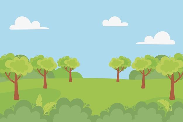 Paesaggio forestale alberi campo cespuglio nuvole cielo illustrazione