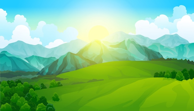 Prati verdi del paesaggio con le montagne. vista sulla valle estiva.