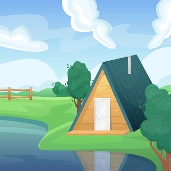 Paesaggio di un campo estivo verde con un lago e una casa di campagna. paesaggio naturale. campi agricoli. agricoltura, allevamento.