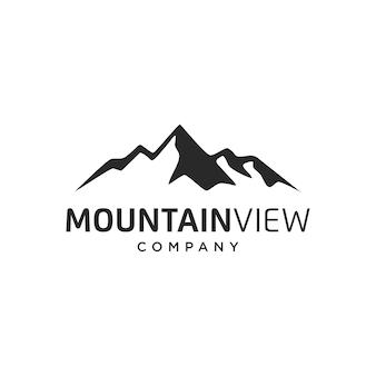 Progettazione di logo di vettore di montagna di paesaggio delle colline