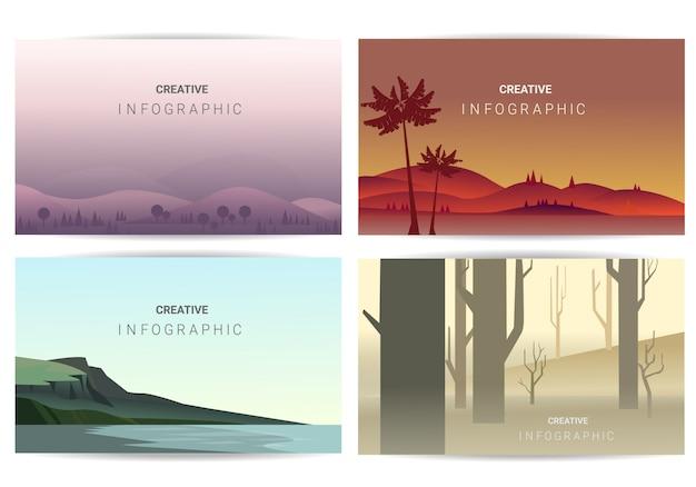 Set di illustrazione del paesaggio