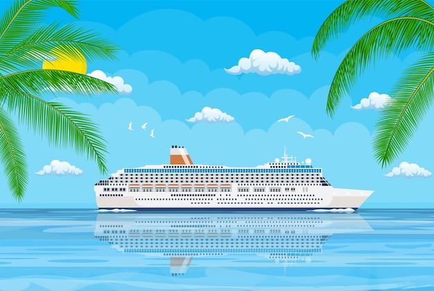 Paesaggio di isole e spiaggia. nave da crociera. illustrazione in stile piatto