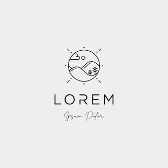 Progettazione del logo del paesaggio per l'icona vettoriale del paesaggio