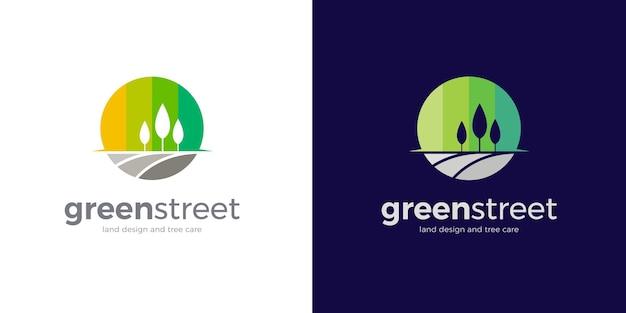 Design del logo paesaggistico in due opzioni di colore