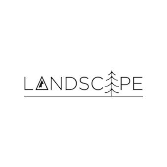 Illustrazione del disegno vettoriale del testo del logo del paesaggio