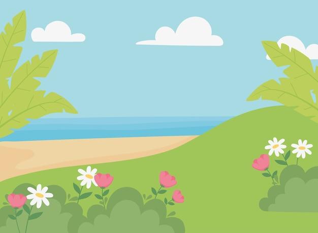 Paesaggio prato fiori spiaggia di sabbia mare e cielo illustrazione