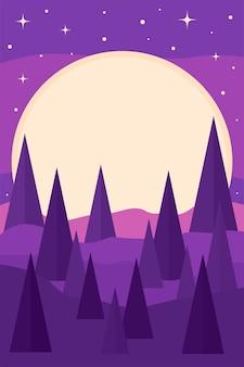 Modello di sfondo minimalista per poster con motivo luna paesaggio/paesaggio luminoso per la stampa di t-shirt o poster per la scuola materna