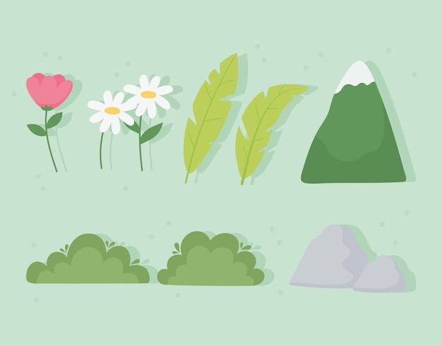 Paesaggio montagna foglia fiore cespuglio pietra icone impostate