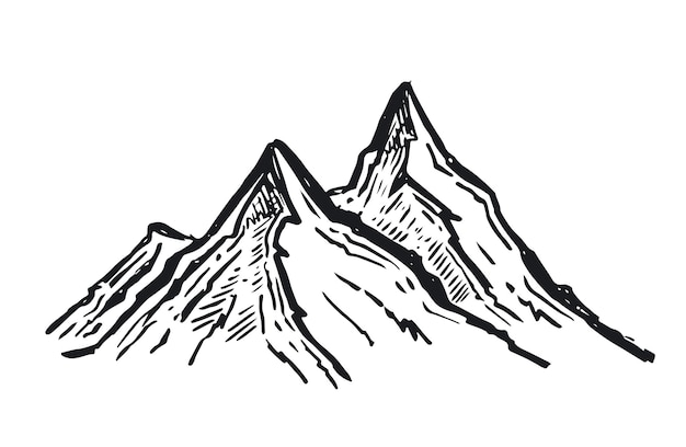 Illustrazione disegnata a mano delle montagne del paesaggio