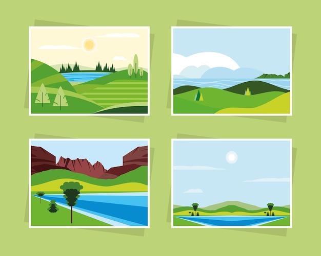 Paesaggio natura verde fiume montagne