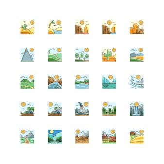 Vettore stabilito dell'icona di vista della natura del paesaggio isolato