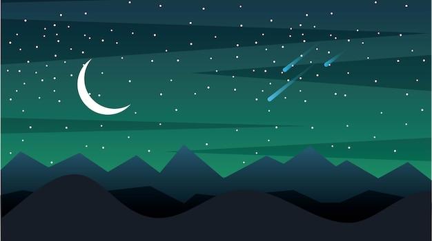 Paesaggio notturno con montagne falce di luna e asteroidi cadenti
