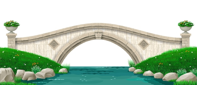 Paesaggio e vecchio ponte di pietra sul fiume. parco con prato verde e colline