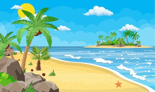 Paesaggio di palma sulla spiaggia