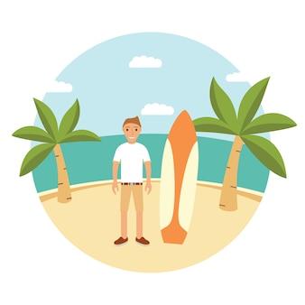 Tavola da surf della palma del paesaggio. surf in questa estate. carattere più sicuro del tipo.