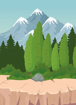 Paesaggio di alberi di pino e pietra davanti a montagne design, natura e outdoor