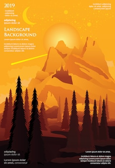 Progettazione grafica del modello del manifesto di paesaggio