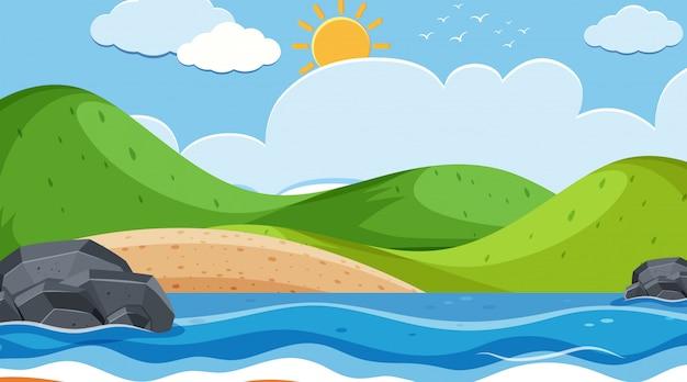 Paesaggio della spiaggia con l'illustrazione delle piccole colline