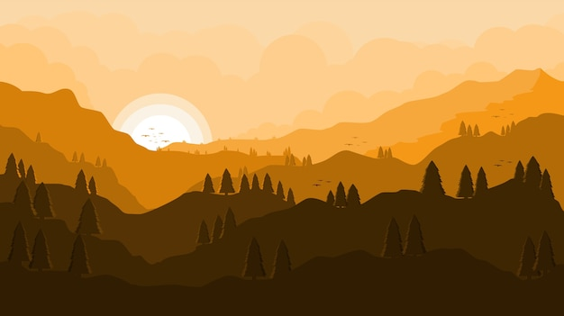 Paesaggio tramonto foresta e montagne