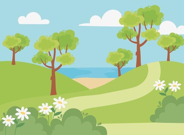 Paesaggio albero percorso fiori campo spiaggia e lago scena illustrazione