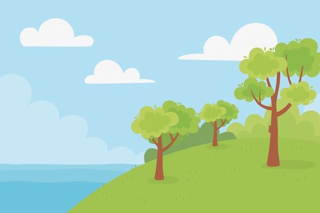 Paesaggio alberi collina lago cielo nuvole natura paesaggio illustrazione