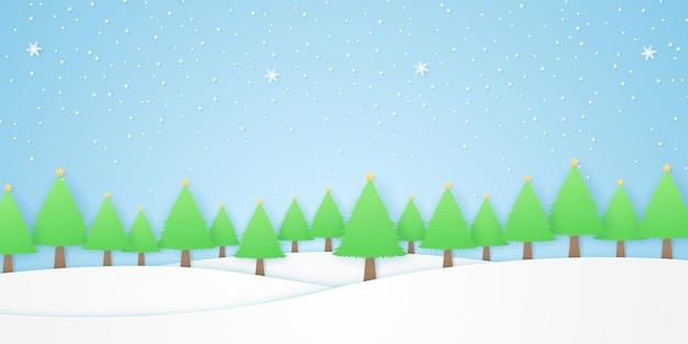 Paesaggio, alberi con stelle e neve che cade nella stagione invernale, collina bianca, stile di arte della carta