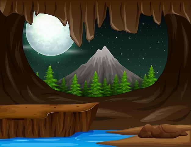 Vista del paesaggio dall'illustrazione dell'ingresso della caverna