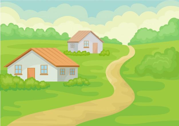 Paesaggio del villaggio con due casette, strada a terra, erba verde e cespugli.