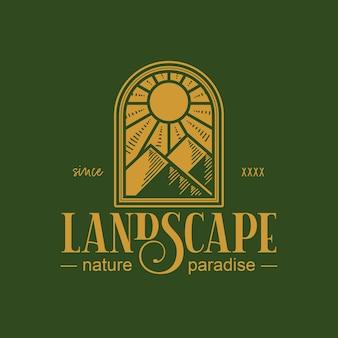 Design del logo vintage di paesaggio