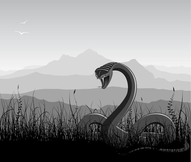 Paesaggio con serpente arrabbiato, erba e montagne.