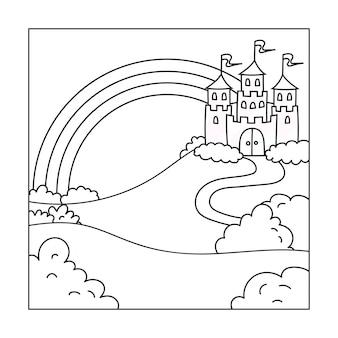 Paesaggio con un bellissimo castello pagina del libro da colorare per bambini