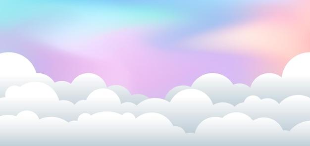 Paesaggio con carta tagliata nuvolosa.