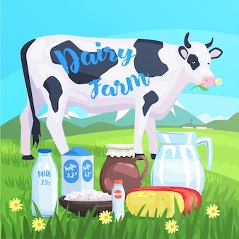 Paesaggio con mucca e prodotti lattiero-caseari in primo piano