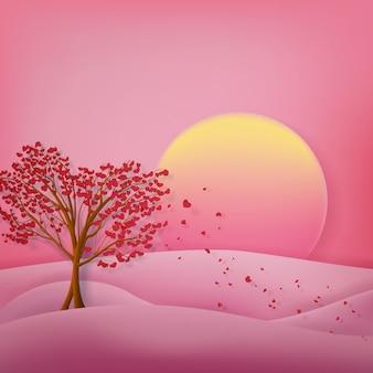 Paesaggio con derevya con foglie a forma di cuori al tramonto per san valentino
