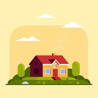 Paesaggio con casetta familiare e alberi