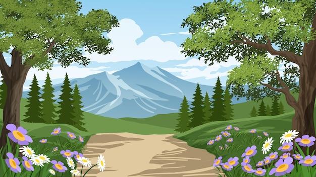 Paesaggio con bosco e sentiero verso la montagna