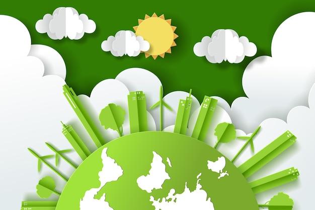 Paesaggio con città verde eco urbana, giornata della terra e concetto di giornata mondiale dell'ambiente.