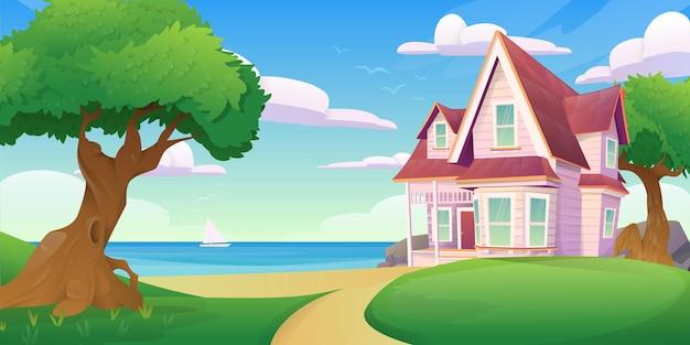 Paesaggio con una casa in riva al mare