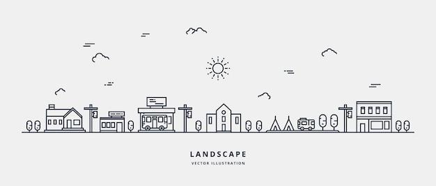 Paesaggio con case che costruiscono il cielo dell'albero paesaggio suburbano progettazione di arte di linea piatta