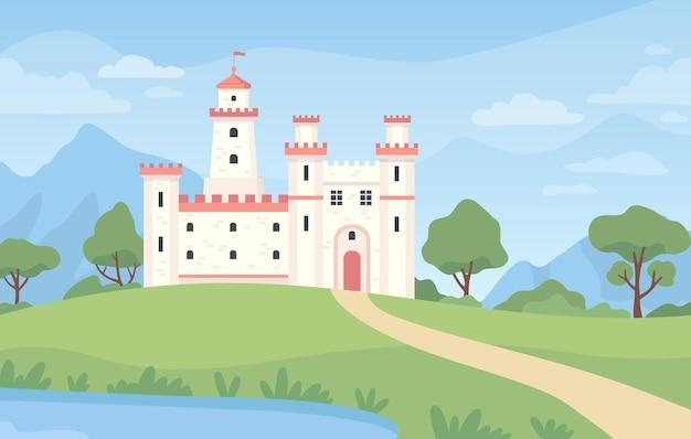 Paesaggio con castello medievale. palazzo reale di fantasia del fumetto con le torri. vecchio edificio del regno, prato verde, stagno e scena di vettore del cielo blu. illustrazione castello roccaforte, edificio del palazzo
