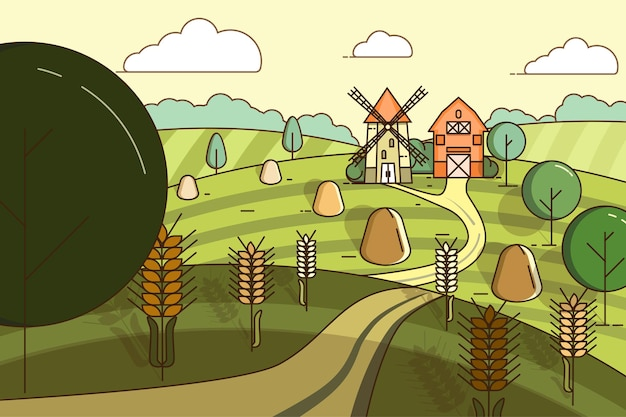 Paesaggio con un mulino e un fienile in mezzo ai campi di grano.