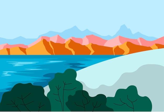Paesaggio con montagne e lago o stagno vettore